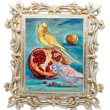 Картины и панно ручной работы. Ярмарка Мастеров - ручная работа Картина Волнистые попугаи с гранатом натюрморт в детскую холст масло. Handmade.