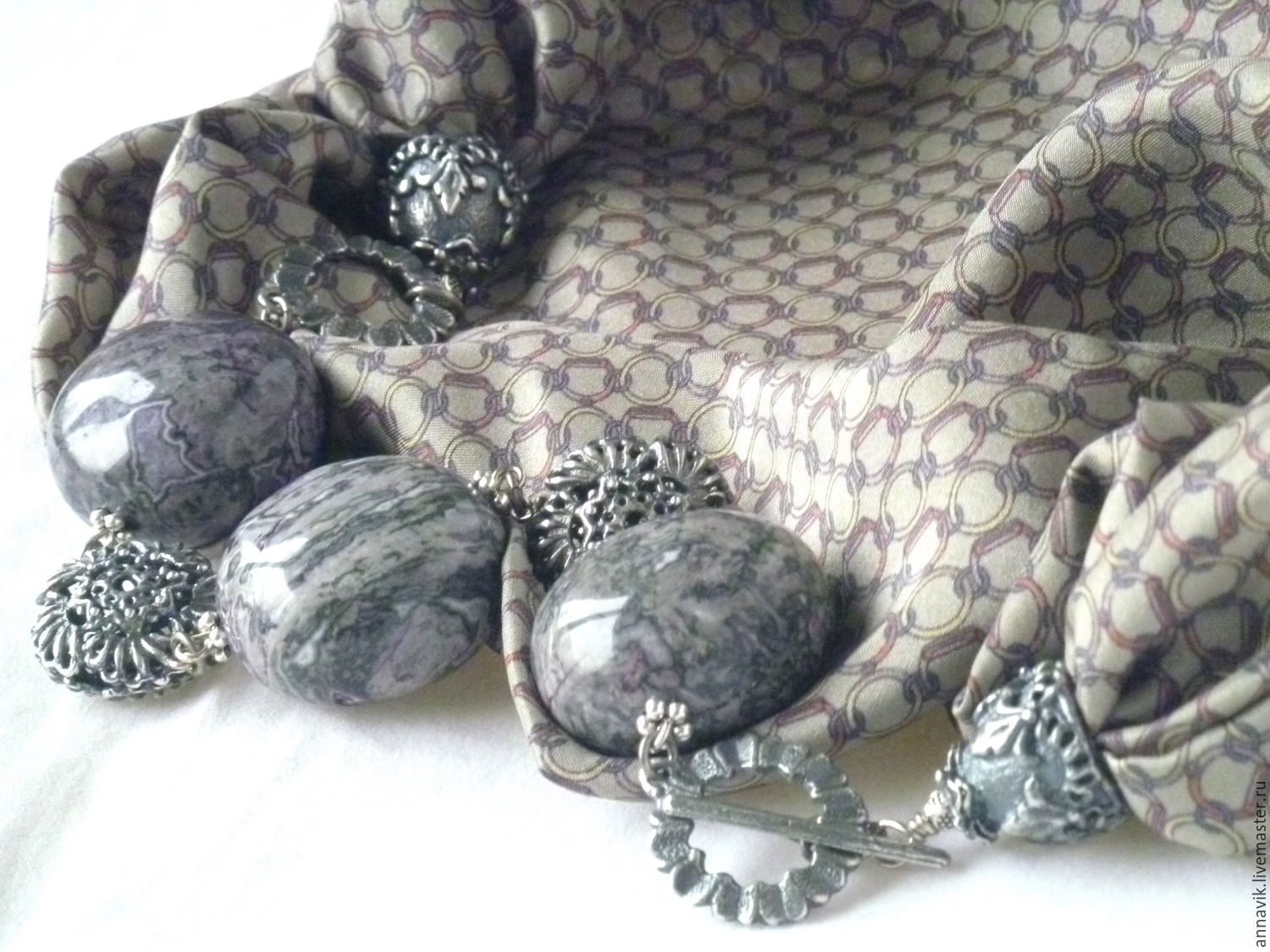 Silk necklace 'Dreams of avalon', Necklace, Moscow,  Фото №1