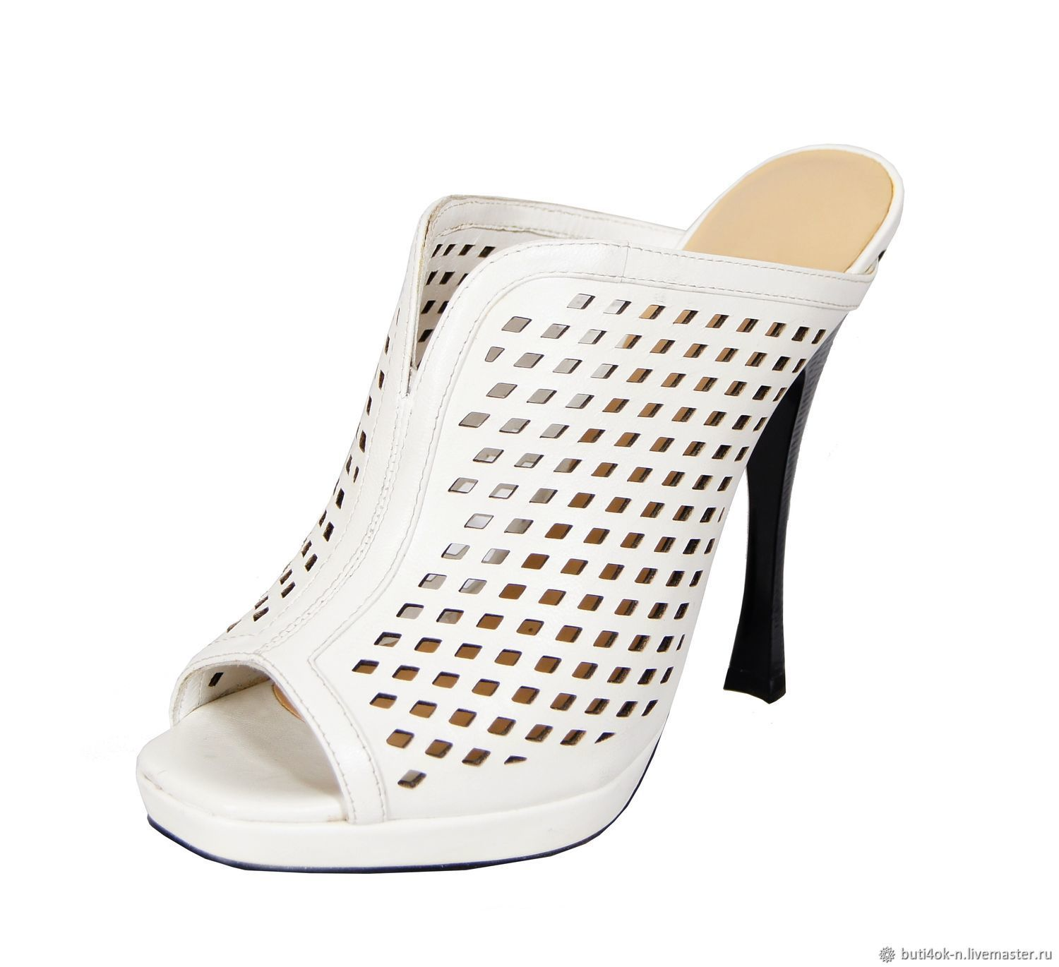 White sandals-clogs from genuine perforated leather, Vintage shoes, Nelidovo,  Фото №1