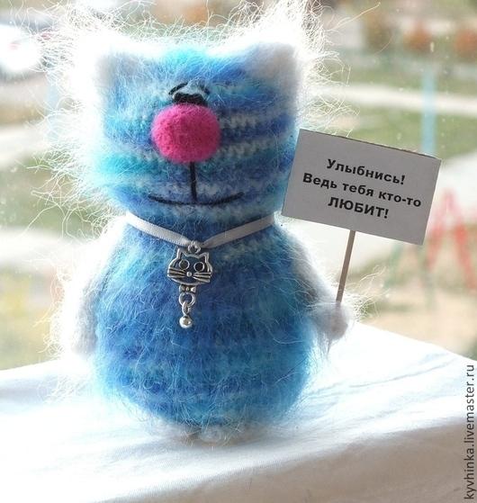 Игрушки животные, ручной работы. Ярмарка Мастеров - ручная работа. Купить Кот полосатый. Handmade. Голубой, коты, пушистый, сувенир