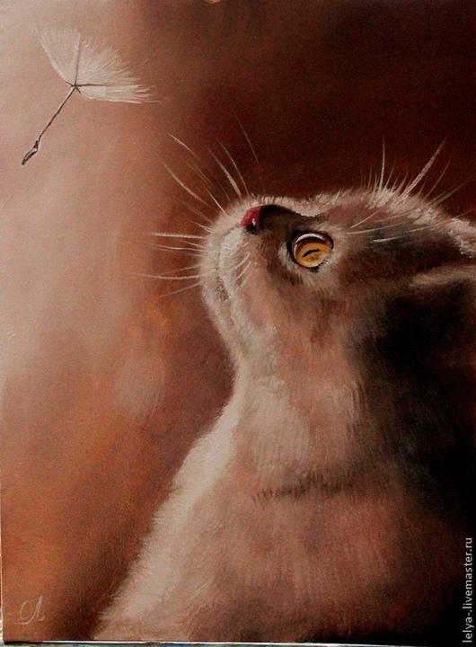 Животные ручной работы. Ярмарка Мастеров - ручная работа. Купить Картина Котенок. Handmade. Картина в подарок, теплая картина, котик