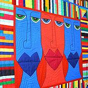 Для дома и интерьера ручной работы. Ярмарка Мастеров - ручная работа пэчворк покрывало  МОАИ - ну очень креативный квилт!. Handmade.
