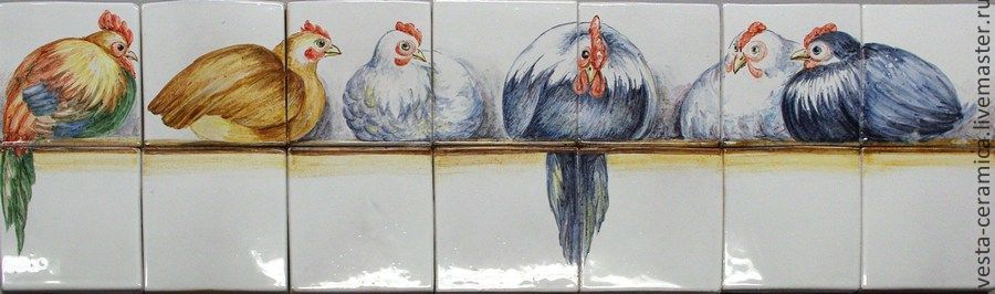 Panels for kitchen 'Chickens', Stained glass, Moscow,  Фото №1