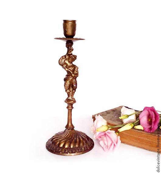 Антикварный франзузский подсвечник для одной свечи , старинный бронзовый подсвечник