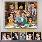 Сувениры и подарки handmade. Livemaster - original item Family gift. Caricature by photo, fireplace, family caricature, big family. Handmade.