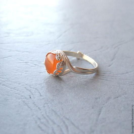 """Кольца ручной работы. Ярмарка Мастеров - ручная работа. Купить Кольцо серебряное с сердоликом """"Весеннее"""". Handmade. Винтажный стиль, оранжевый"""