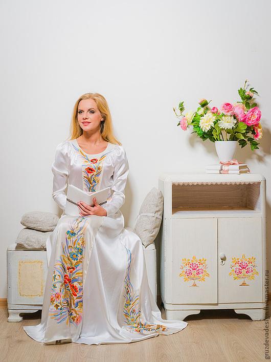 """Платья ручной работы. Ярмарка Мастеров - ручная работа. Купить Платье """"Первые цветы...""""ручная роспись по шёлку. Handmade. Цветочный"""