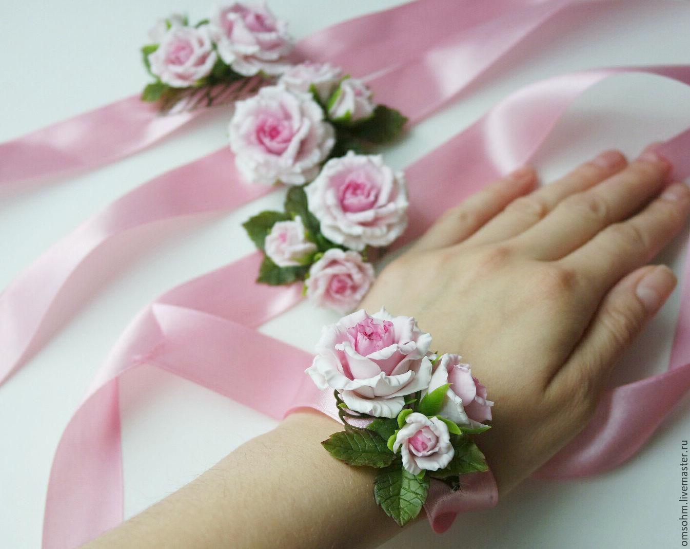 Браслеты с цветами для невесты 33