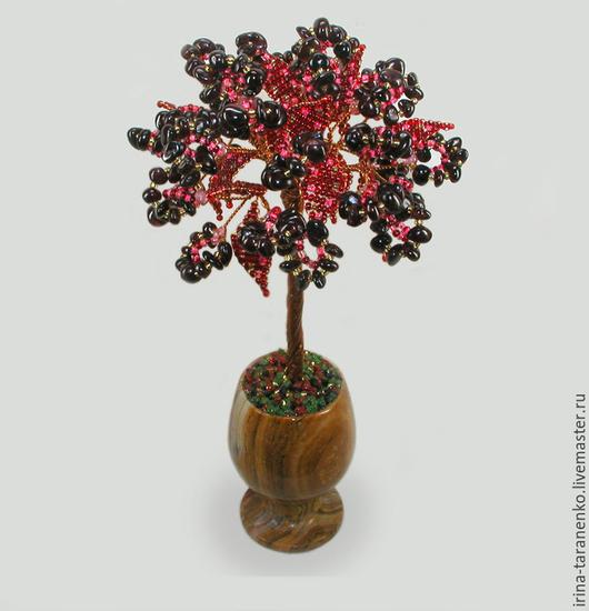 Дерево из граната `Гранатовое счастье` в вазочке из оникса