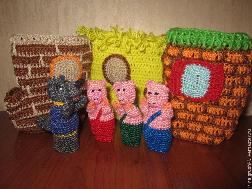 Купить пальчиковый театр Три поросенка - пальчиковый театр, пальчиковые игрушки, пальчиковые куклы, поросята