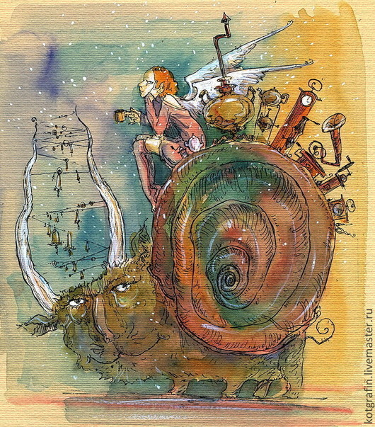 """Символизм ручной работы. Ярмарка Мастеров - ручная работа. Купить """"Путешествие навстречу мечте"""". Handmade. Акварель, Открытка ручной работы"""