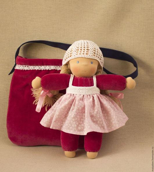 Вальдорфская игрушка ручной работы. Ярмарка Мастеров - ручная работа. Купить Кукла в сумке, 31 см. Handmade. Брусничный