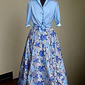 Одежда ручной работы. Ярмарка Мастеров - ручная работа Стильный комплект (голубая юбка и блузка). Handmade.