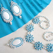 Украшения handmade. Livemaster - original item Necklace and earrings from natural stones and Swarovski crystals. Handmade.