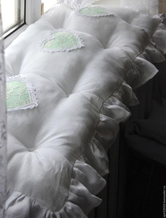 Текстиль, ковры ручной работы. Ярмарка Мастеров - ручная работа. Купить Сидушка на скамейку, подоконник в стиле шебби. Handmade. Белый
