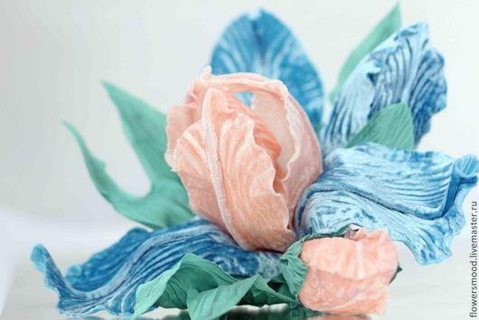 """Цветы ручной работы. Ярмарка Мастеров - ручная работа. Купить Ирис """"FRENCH CAN-CAN"""". Handmade. Бирюзовый, шелковый цветы"""