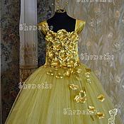 Работы для детей, ручной работы. Ярмарка Мастеров - ручная работа Пышное платье из фатина для девочки Gold. Handmade.