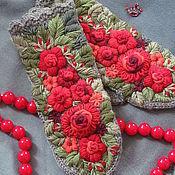 """Аксессуары ручной работы. Ярмарка Мастеров - ручная работа Варежки вязаные с вышивкой """"Рябиновые"""". Handmade."""
