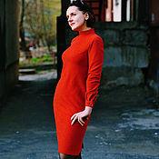 Одежда ручной работы. Ярмарка Мастеров - ручная работа Платье из мягкой шерсти терракотового цвета с воротником стойкой. Handmade.