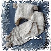 Работы для детей, ручной работы. Ярмарка Мастеров - ручная работа КОМПЛЕКТ шапка шарф варежки. собачий пух пуховые. Handmade.