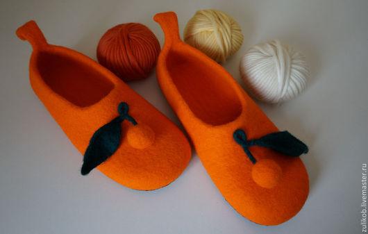 Обувь ручной работы. Ярмарка Мастеров - ручная работа. Купить Тапочки Апельсинки. Handmade. Тапочки, валяные тапочки, тапочки войлочные