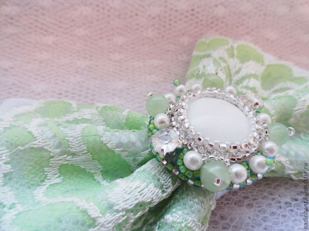Barrette Bow green herb with natural onyx, Hairpins, St. Petersburg,  Фото №1