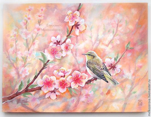 """Картины цветов ручной работы. Ярмарка Мастеров - ручная работа. Купить Картина """"Цветение персика"""" розовый цветы птица. Handmade."""