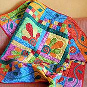 Для дома и интерьера ручной работы. Ярмарка Мастеров - ручная работа детское лоскутное одеяло МОНПАНСЬЕ (все цветы и орнаменты -аппликации). Handmade.