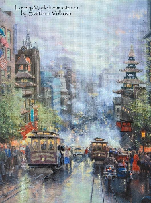 Город ручной работы. Ярмарка Мастеров - ручная работа. Купить Сан-Франциско. Картина в технике частичная вышивка (Готовая работа). Handmade.