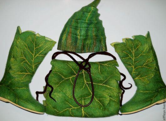 """Обувь ручной работы. Ярмарка Мастеров - ручная работа. Купить Комплект """"Подвижный эльф - 2"""". Handmade. Зеленый, подвижный эльф"""