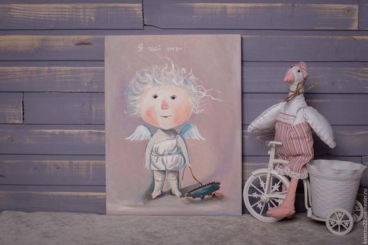 """Репродукции ручной работы. Ярмарка Мастеров - ручная работа. Купить """"Я твой ангел"""" Е. Гапчинской. Handmade. Бирюзовый, дети"""
