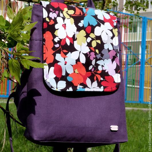 """Рюкзаки ручной работы. Ярмарка Мастеров - ручная работа. Купить рюкзак """"Цветочная фантазия"""". Handmade. Тёмно-фиолетовый, лён"""