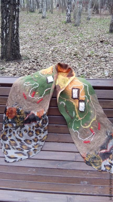 Шарфы и шарфики ручной работы. Ярмарка Мастеров - ручная работа. Купить валяный шарф Индийские специи. Handmade. Абстрактный