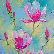 Картины и панно handmade. Livemaster - original item Painting with Magnolia