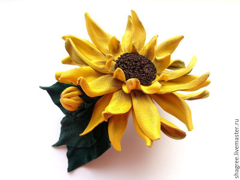 Hairpin - automatic leather Sunflower, Hairpins, Moscow,  Фото №1