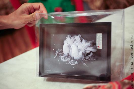 Фоторамки ручной работы. Ярмарка Мастеров - ручная работа. Купить Объёмная картинка из бумаги в глубокой рамке под стеклом Голуби. Handmade.