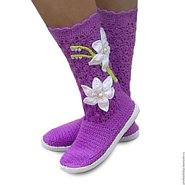 Обувь ручной работы. Ярмарка Мастеров - ручная работа Вязаные сапожки Фиолетовое настроение.. Handmade.