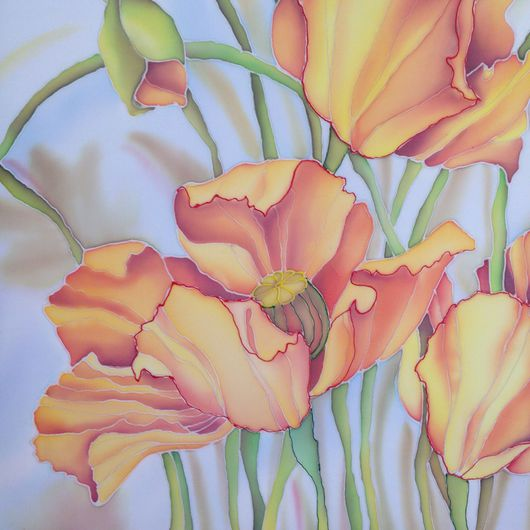 """Картины цветов ручной работы. Ярмарка Мастеров - ручная работа. Купить Батик - картина   """"Маки"""". Handmade. Картина для интерьера, маки"""