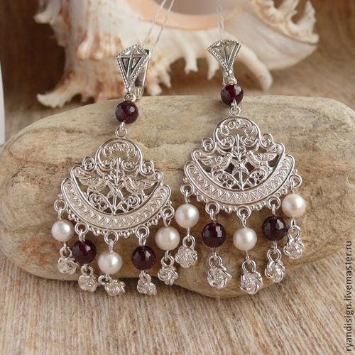 Славянские обереги, серьги из серебра, серьги с камнями, серебро, серебряные серьги, серьги с жемчугом, серьги серебряные