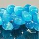 Бусины из имитации натурального камня кошачий глаз голубого цвета формы капля