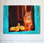 Картины и панно ручной работы. Ярмарка Мастеров - ручная работа Картина Рыжий помощник. Handmade.