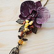 Украшения ручной работы. Ярмарка Мастеров - ручная работа Кулон с цветком орхидеи из полимерной глины. Handmade.