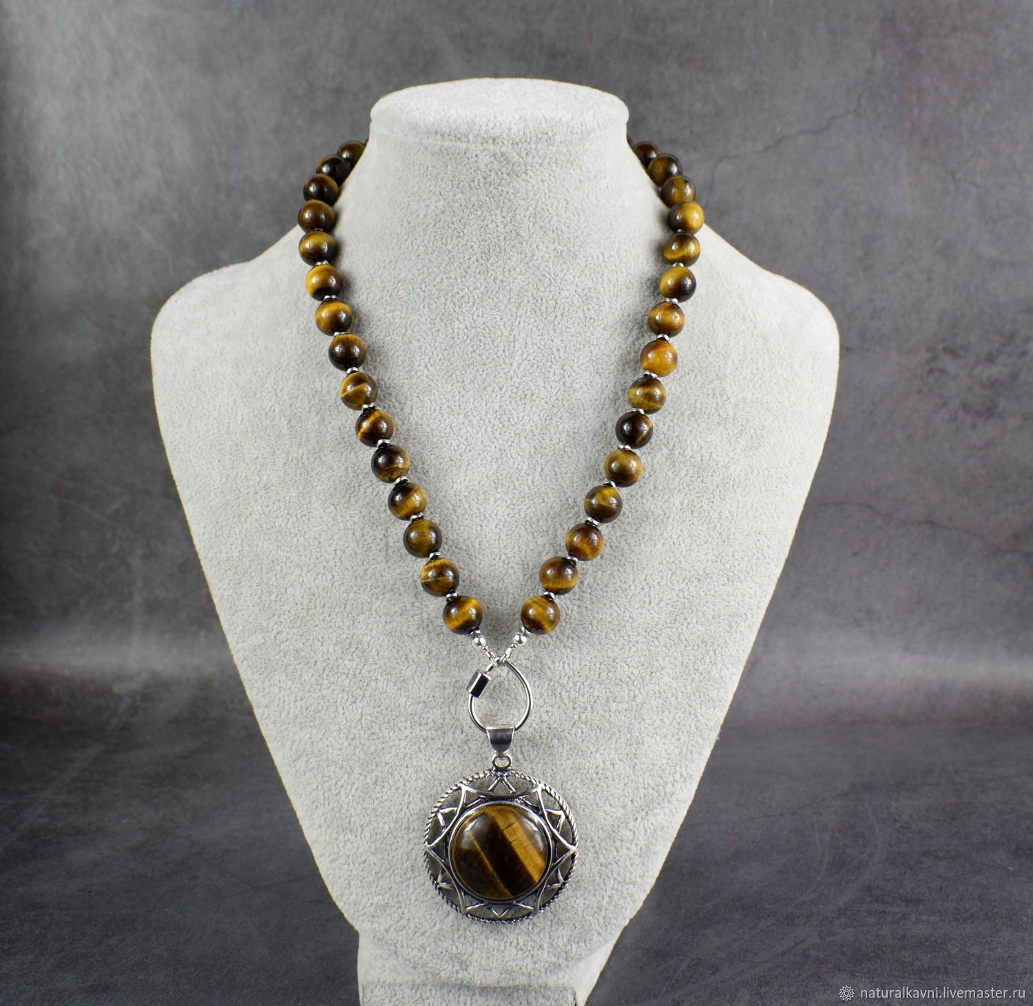 Necklace-beads with pendant natural stone tiger eye, Necklace, Moscow,  Фото №1