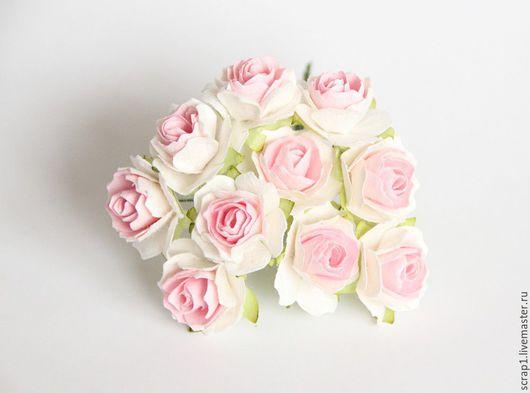 Открытки и скрапбукинг ручной работы. Ярмарка Мастеров - ручная работа. Купить Розы кудрявые 3 см .Белый + розовая середина. 5шт.!. Handmade.