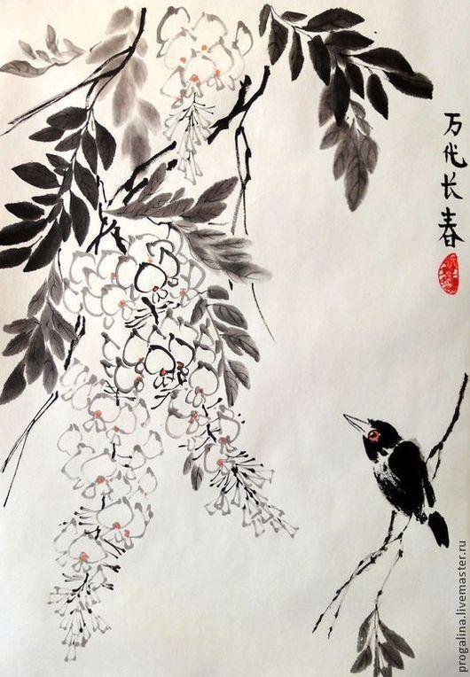 Картины цветов ручной работы. Ярмарка Мастеров - ручная работа. Купить Мечтатель. Handmade. Китайская живопись, птичка, черный