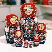 Русский стиль handmade. Livemaster - original item Painted matryoshka with different emotions, 7 places 22 cm. Handmade.