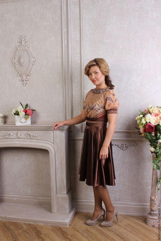 Платья ручной работы. Ярмарка Мастеров - ручная работа. Купить Платье из павловопосадского шелкового платка Версаль. Handmade. Коричневый