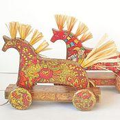 Куклы и игрушки handmade. Livemaster - original item Pull along toys: Wooden horses - rolling. Handmade.