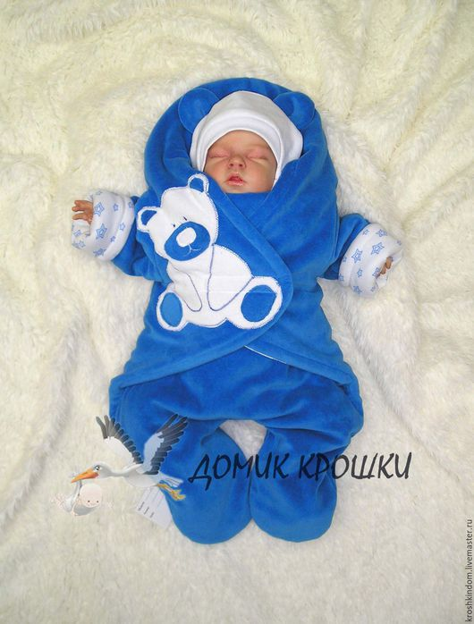 """Для новорожденных, ручной работы. Ярмарка Мастеров - ручная работа. Купить Комбинезон-конверт для новорожденного """"Велюровый Мишка"""" васильковый. Handmade."""