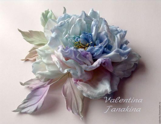 """Цветы ручной работы. Ярмарка Мастеров - ручная работа. Купить цветок из шелка """"искристый голубой """". Handmade. Голубой"""